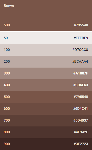 brown colores material design