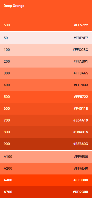 deep orange colores material design