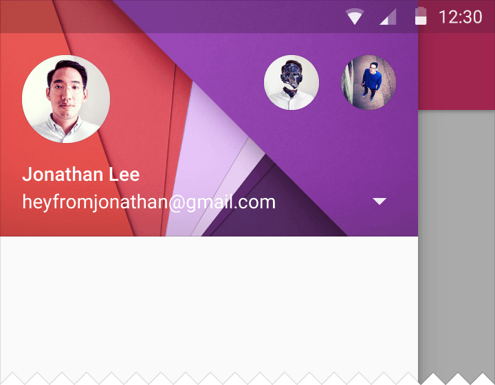 navigation drawer pautas material design