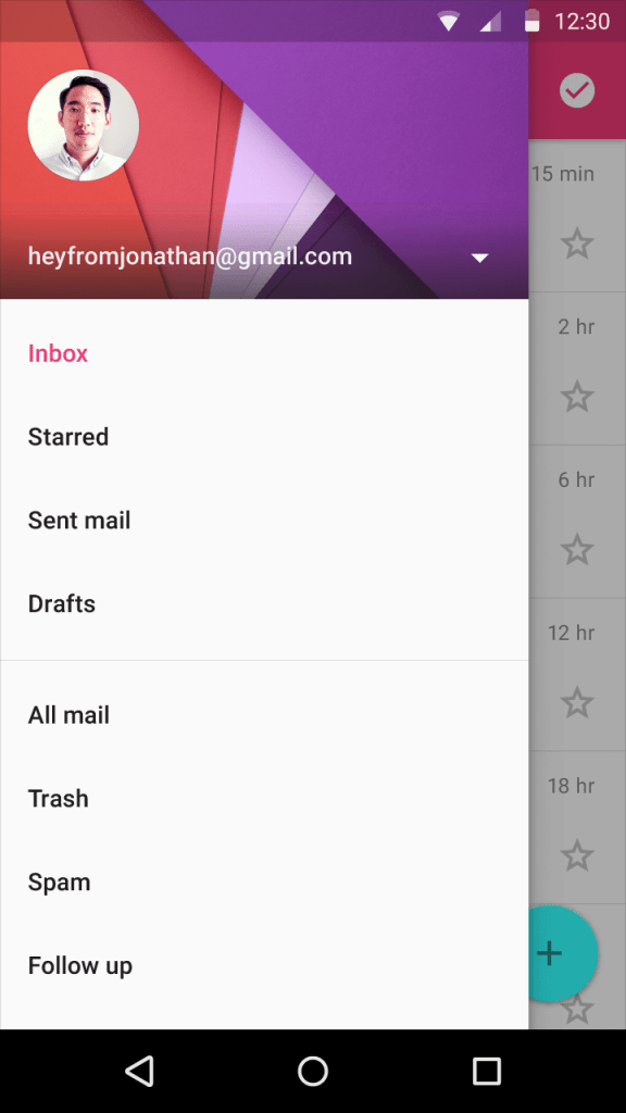 material design navigation drawer
