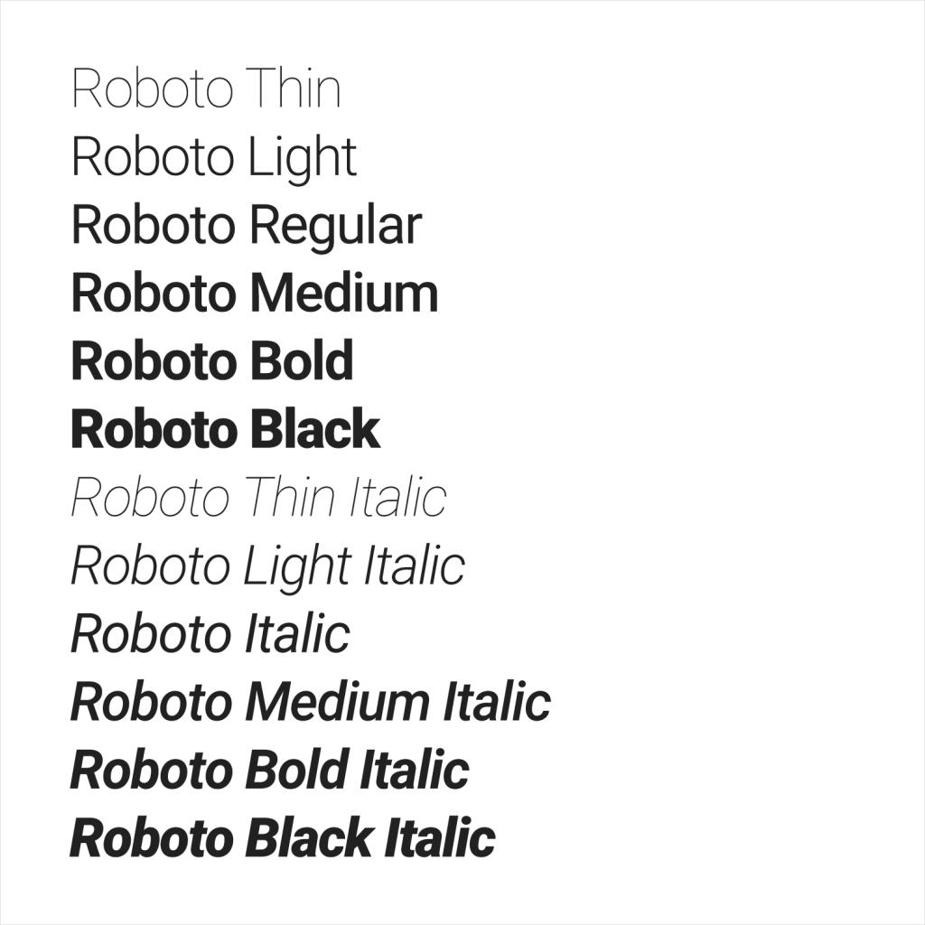 tipos roboto material design fuentes