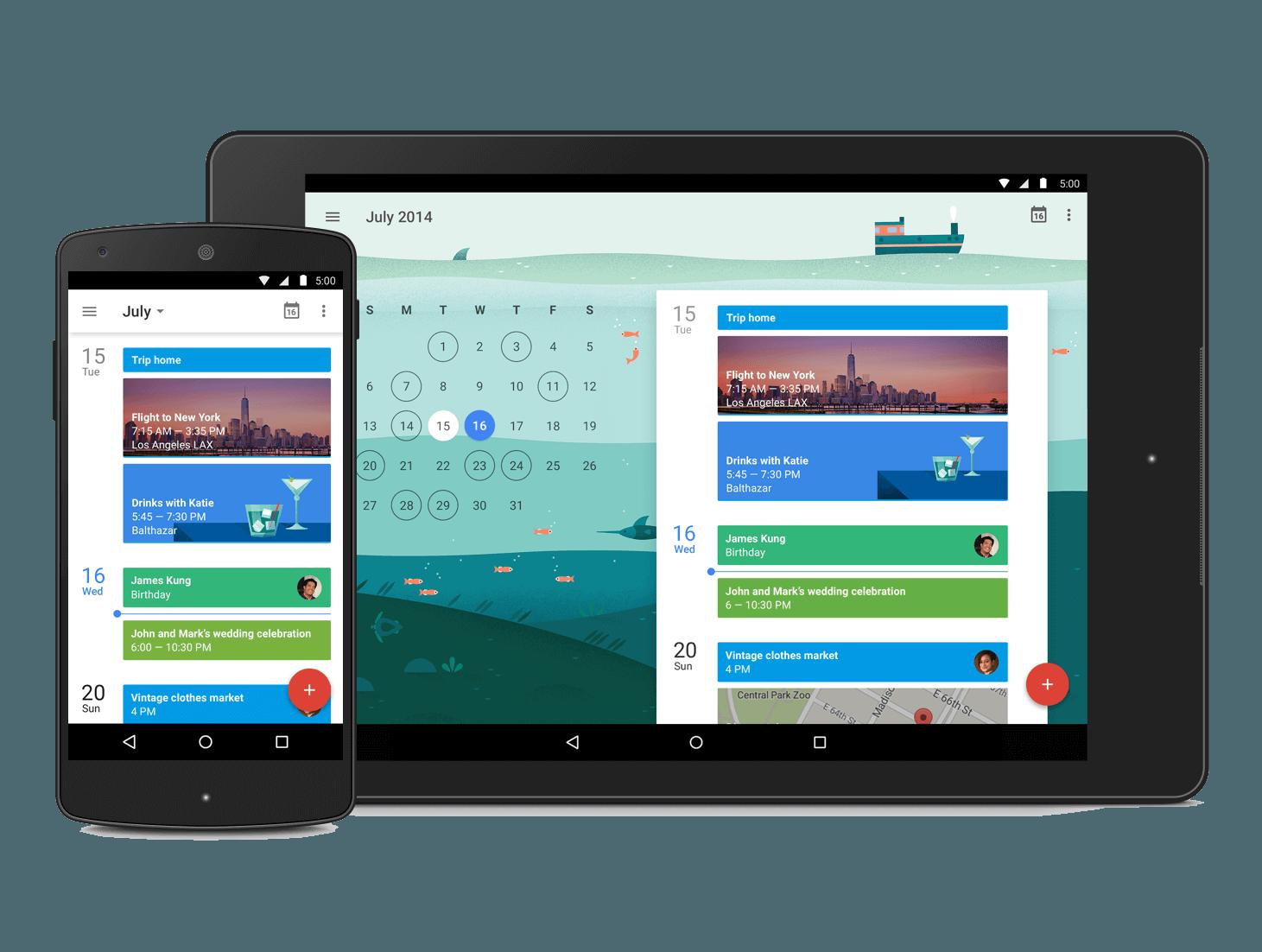 soporte de diferentes dispositivos google calendar material design